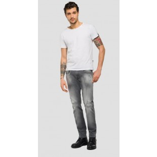 Replay Grey Denim Anbass Hyperflex Slim Fit Jeans Broken & Repair Men